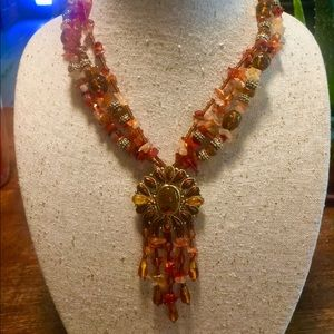Fall Colors Chip Bead Pendant Necklace